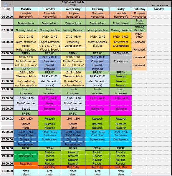 elementary schedule oct 2018